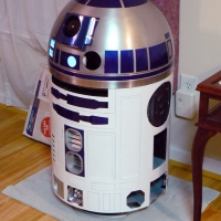 Front view, aluminum skins attached to body with various parts added.