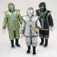 "Voc Robot (green), SV7 Robot (silver), and D84 Robot (black) from ""The Robots of Death"" (1977)"
