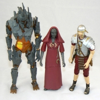 """Pyrovile Warrior, Pyrovile Priestess, and Roman Soldier from """"The Fires of Pompeii"""" (2008)"""