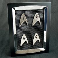 Star Trek Division Badges from the 2009 STAR TREK Movie - Best Buy Exclusive set of pins, framed by me.