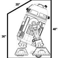 From the side. R2 will be teathered to the back with tie-down straps.