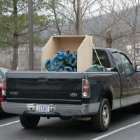 Box on the back of the truck.